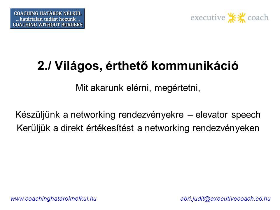 2./ Világos, érthető kommunikáció Mit akarunk elérni, megértetni, Készüljünk a networking rendezvényekre – elevator speech Kerüljük a direkt értékesítést a networking rendezvényeken www.coachinghataroknelkul.huabri.judit@executivecoach.co.hu