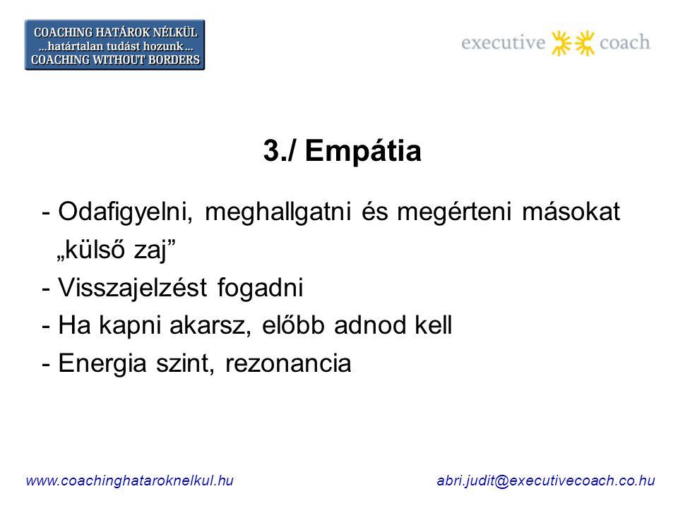 """3./ Empátia - Odafigyelni, meghallgatni és megérteni másokat """"külső zaj - Visszajelzést fogadni - Ha kapni akarsz, előbb adnod kell - Energia szint, rezonancia www.coachinghataroknelkul.huabri.judit@executivecoach.co.hu"""