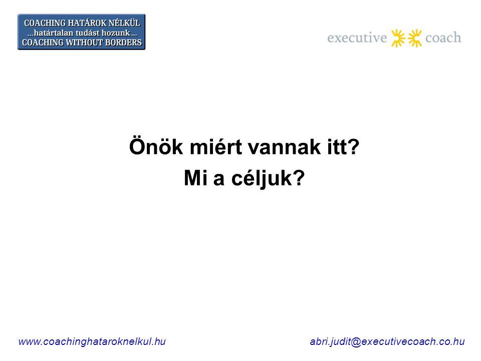 Önök miért vannak itt Mi a céljuk www.coachinghataroknelkul.huabri.judit@executivecoach.co.hu