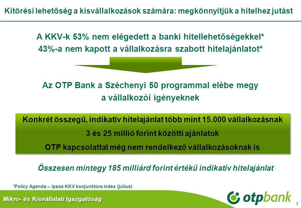 Kitörési lehetőség a kisvállalkozások számára: megkönnyítjük a hitelhez jutást A KKV-k 53% nem elégedett a banki hitellehetőségekkel* 43%-a nem kapott