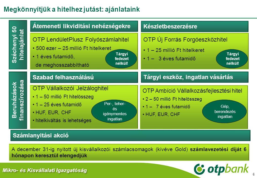 Megkönnyítjük a hitelhez jutást: ajánlataink 6 Átemeneti likviditási nehézségekre Készletbeszerzésre OTP LendületPlusz Folyószámlahitel 500 ezer – 25