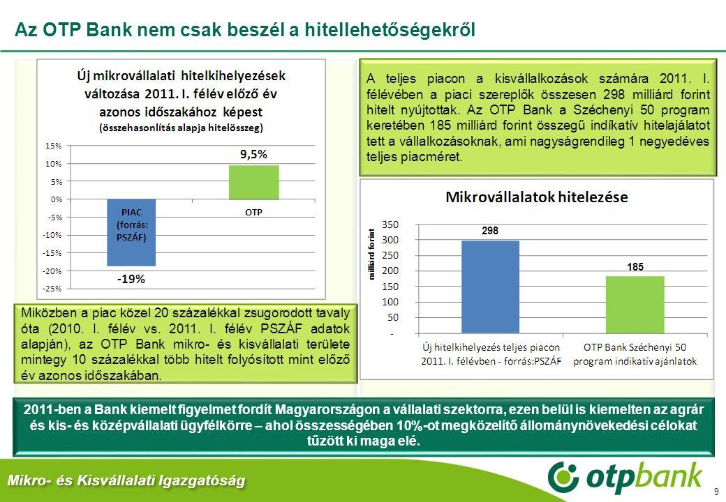 Az OTP Bank nem csak beszél a hitellehetőségekről 2011-ben a Bank kiemelt figyelmet fordít Magyarországon a vállalati szektorra, ezen belül is kiemelt