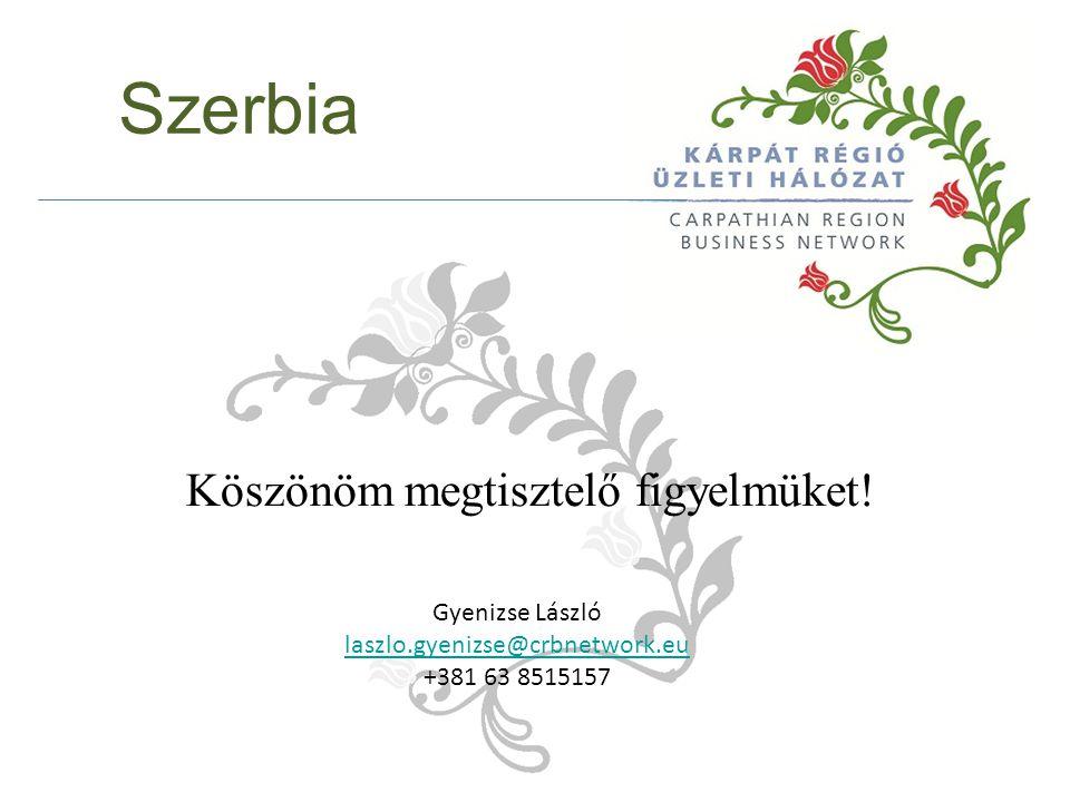 Szerbia Köszönöm megtisztelő figyelmüket! Gyenizse László laszlo.gyenizse@crbnetwork.eu +381 63 8515157
