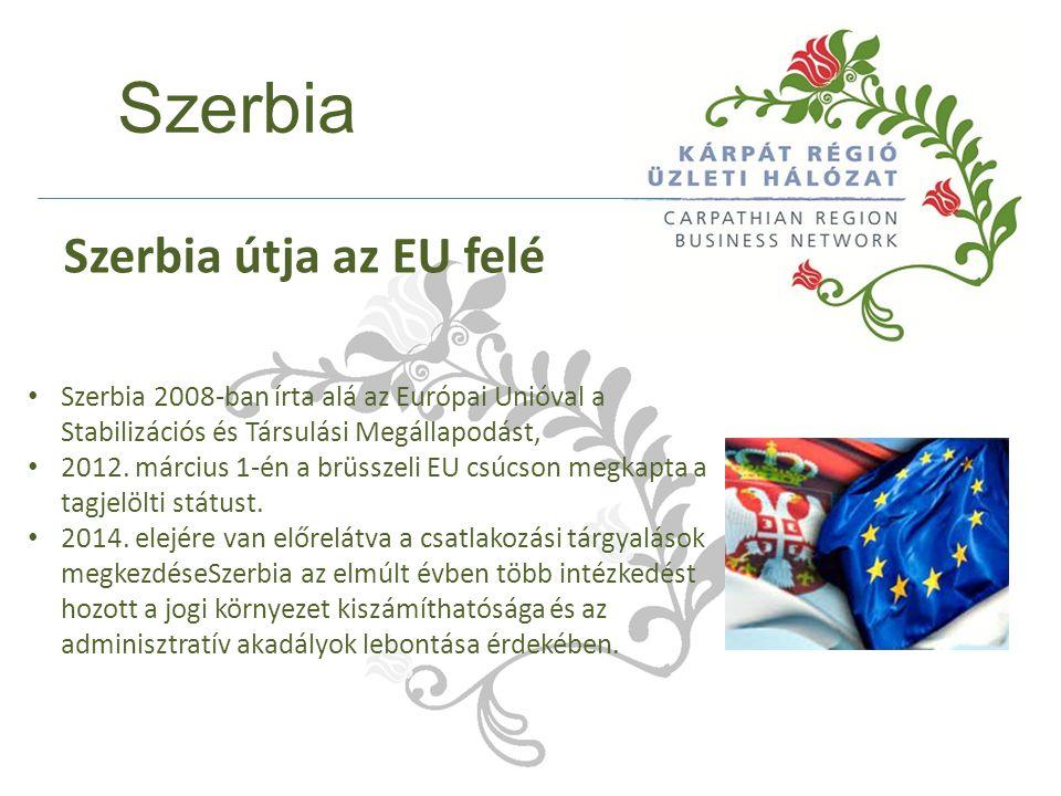 Szerbia Szerbia 2008-ban írta alá az Európai Unióval a Stabilizációs és Társulási Megállapodást, 2012. március 1-én a brüsszeli EU csúcson megkapta a