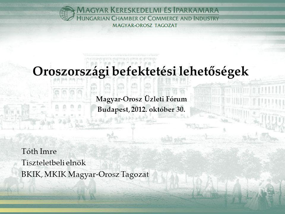 Oroszországi befektetési lehetőségek Magyar-Orosz Üzleti Fórum Budapest, 2012.
