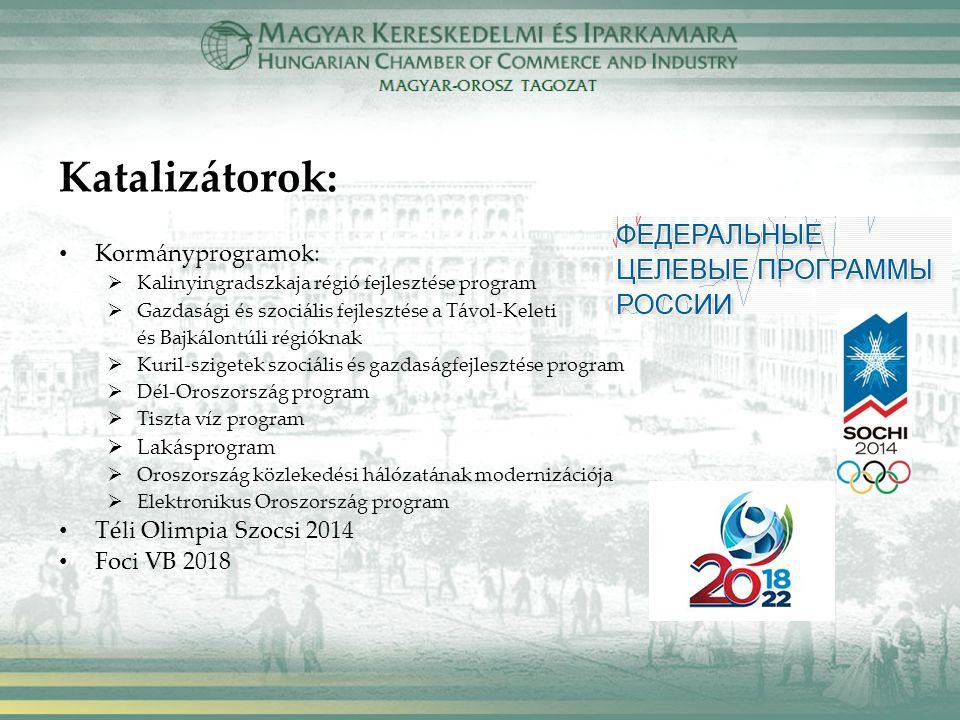 Katalizátorok: Kormányprogramok:  Kalinyingradszkaja régió fejlesztése program  Gazdasági és szociális fejlesztése a Távol-Keleti és Bajkálontúli régióknak  Kuril-szigetek szociális és gazdaságfejlesztése program  Dél-Oroszország program  Tiszta víz program  Lakásprogram  Oroszország közlekedési hálózatának modernizációja  Elektronikus Oroszország program Téli Olimpia Szocsi 2014 Foci VB 2018