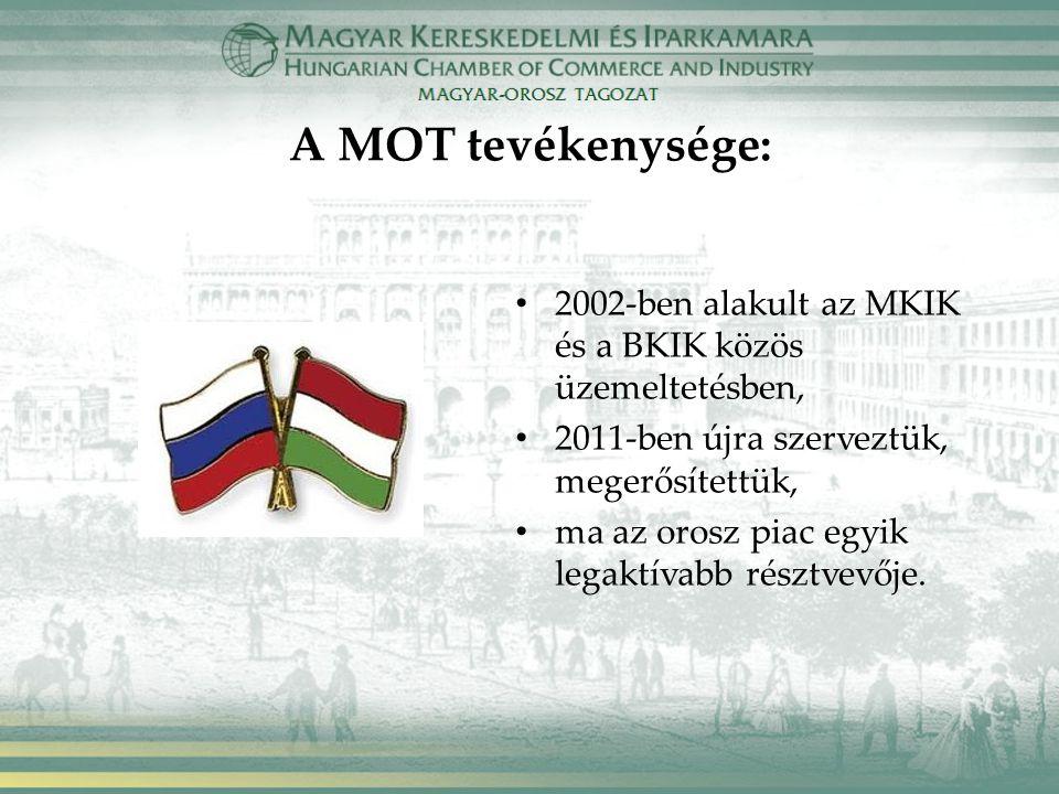A MOT tevékenysége: 2002-ben alakult az MKIK és a BKIK közös üzemeltetésben, 2011-ben újra szerveztük, megerősítettük, ma az orosz piac egyik legaktívabb résztvevője.