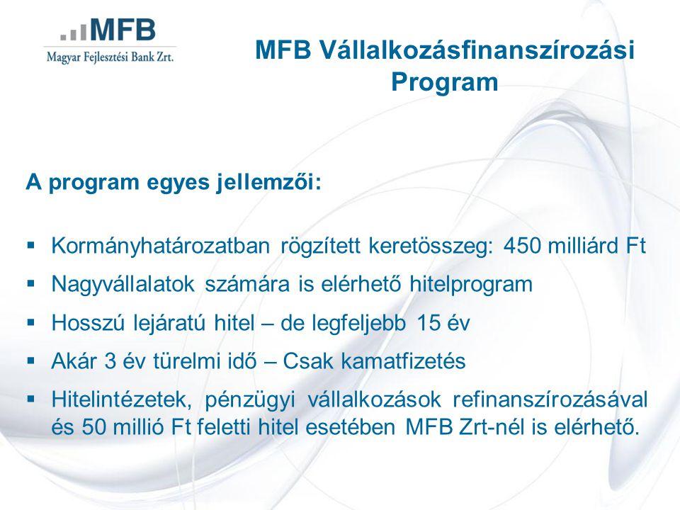A program egyes jellemzői:  Kormányhatározatban rögzített keretösszeg: 450 milliárd Ft  Nagyvállalatok számára is elérhető hitelprogram  Hosszú lejáratú hitel – de legfeljebb 15 év  Akár 3 év türelmi idő – Csak kamatfizetés  Hitelintézetek, pénzügyi vállalkozások refinanszírozásával és 50 millió Ft feletti hitel esetében MFB Zrt-nél is elérhető.