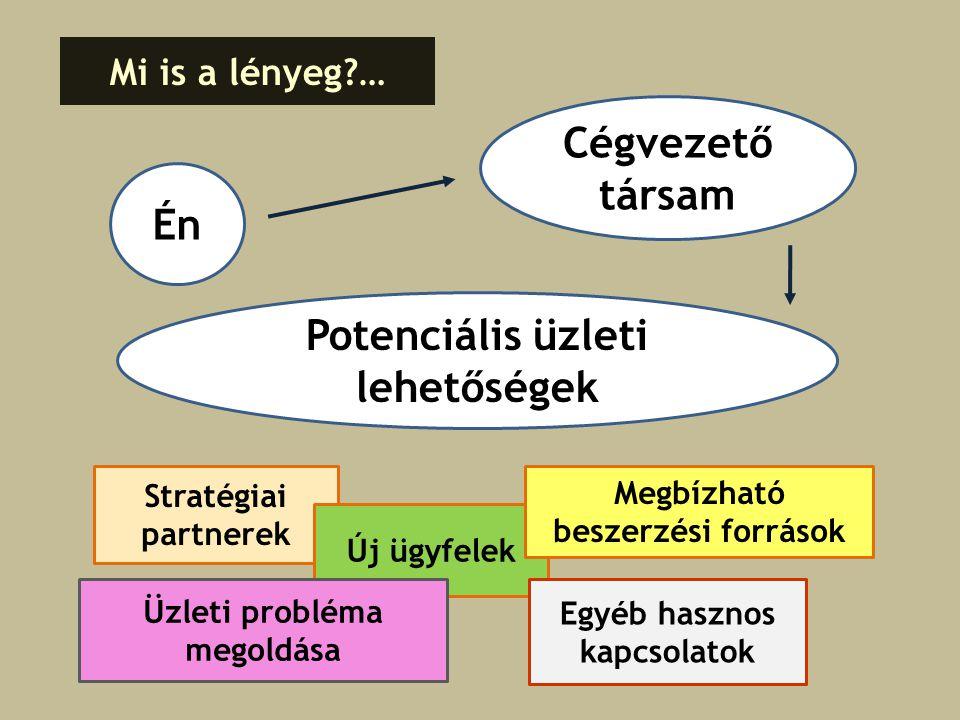 Én Mi is a lényeg?… Cégvezető társam Potenciális üzleti lehetőségek Stratégiai partnerek Új ügyfelek Megbízható beszerzési források Egyéb hasznos kapcsolatok Üzleti probléma megoldása