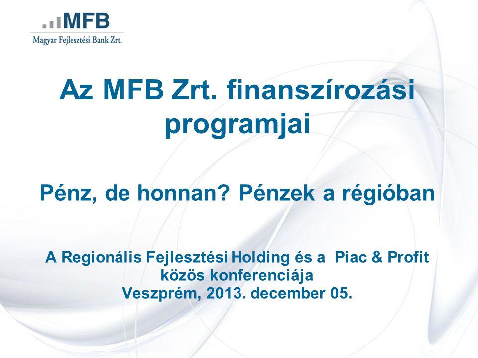 Az MFB Zrt. finanszírozási programjai Pénz, de honnan.