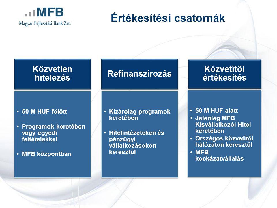 Értékesítési csatornák Közvetlen hitelezés 50 M HUF fölött Programok keretében vagy egyedi feltételekkel MFB központban Refinanszírozás Kizárólag programok keretében Hitelintézeteken és pénzügyi vállalkozásokon keresztül Közvetítői értékesítés 50 M HUF alatt Jelenleg MFB Kisvállalkozói Hitel keretében Országos közvetítői hálózaton keresztül MFB kockázatvállalás