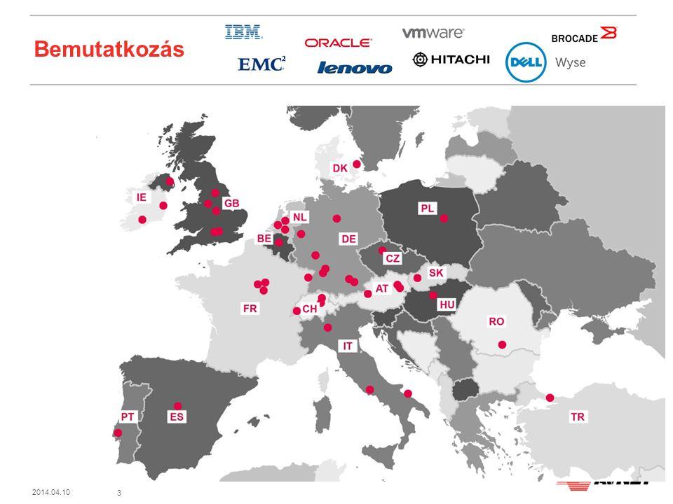 3 2014.04.10 Bemutatkozás A világ 90 országában 17000 alkalmazott, Fortune 500 #117 Magyarországon 1998 óta, 21 munkatárs budapesti székhelyünkön Stabil szakmai és pénzügyi háttér, gyártófüggetlen megoldás-szállítás Szakmai tanácsadás infrastruktúra tervezéshez/optimalizáláshoz, technikai tájékoztatás, oktatás, finanszírozási lehetőségek felkutatása Az értékesítés rendszerintegrátor partnereken keresztül történik A legfrissebb technológiákat kínáljuk a legjobb megtérülési mutatókkal Az Ön érdekeit képviseljük, nem egyes gyártókét A feladathoz leginkább megfelelő rendszerintegrátort javasoljuk Önnek Pénzügyi szempontból is az Önnek ideális megoldást keressük