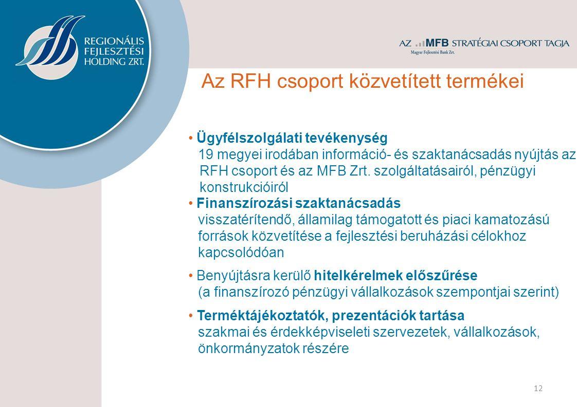 Ügyfélszolgálati tevékenység 19 megyei irodában információ- és szaktanácsadás nyújtás az RFH csoport és az MFB Zrt. szolgáltatásairól, pénzügyi konstr