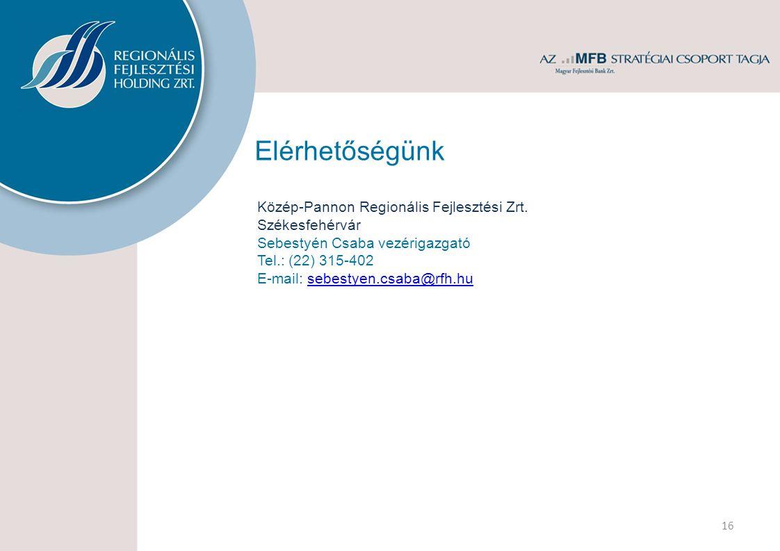 Elérhetőségünk Közép-Pannon Regionális Fejlesztési Zrt. Székesfehérvár Sebestyén Csaba vezérigazgató Tel.: (22) 315-402 E-mail: sebestyen.csaba@rfh.hu