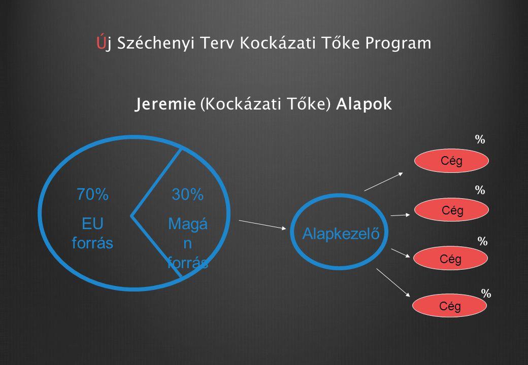 Új Széchenyi Terv Kockázati Tőke Program Jeremie (Kockázati Tőke) Alapok 70% EU forrás 30% Magá n forrás Alapkezelő Cég % % % %