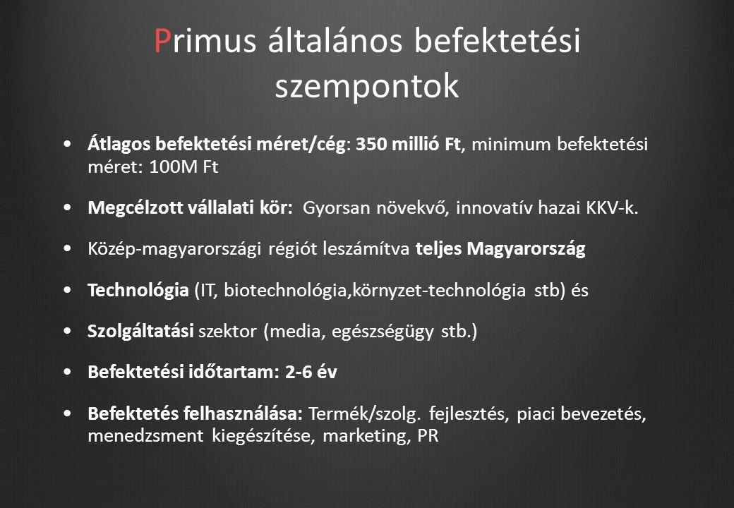 Primus általános befektetési szempontok Átlagos befektetési méret/cég: 350 millió Ft, minimum befektetési méret: 100M Ft Megcélzott vállalati kör: Gyorsan növekvő, innovatív hazai KKV-k.