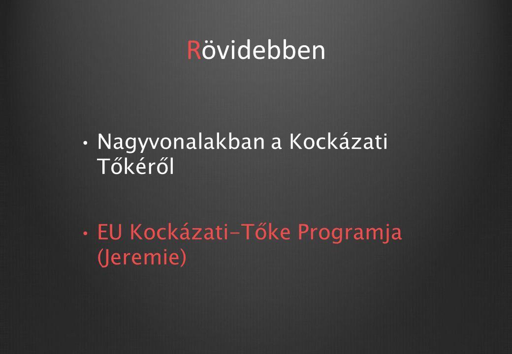Jeremie program (Joint Resources for Micro-to-Medium Enterprises) Visszatérítendő Európai Unió támogatások nyújtása törekvése Jeremie program (Új Széchenyi Programok hivatalosan )