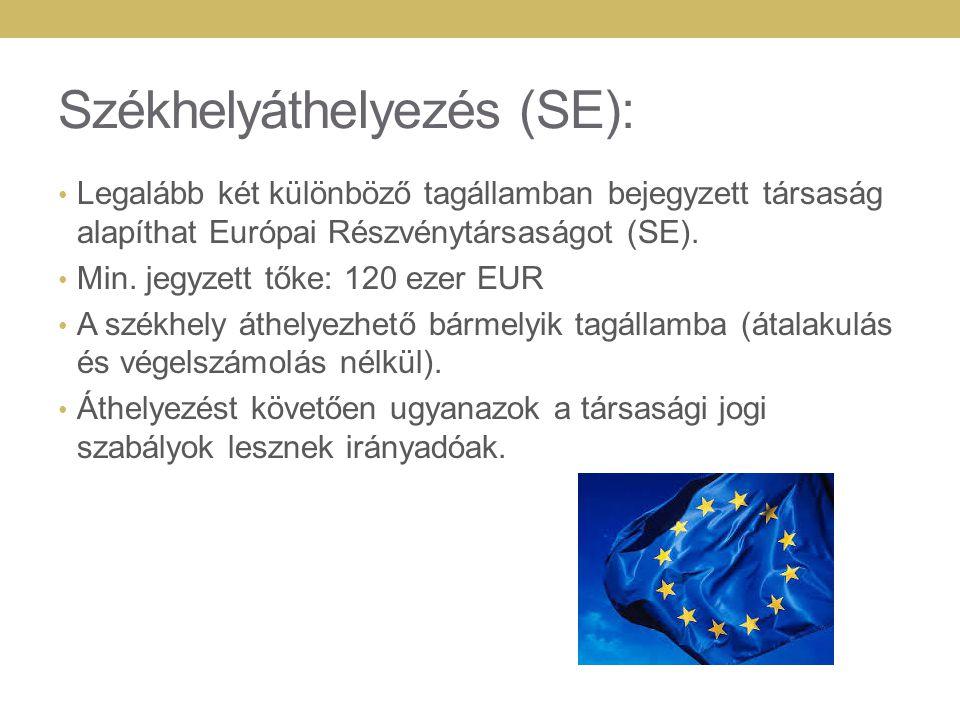 Székhelyáthelyezés (SE): Legalább két különböző tagállamban bejegyzett társaság alapíthat Európai Részvénytársaságot (SE). Min. jegyzett tőke: 120 eze