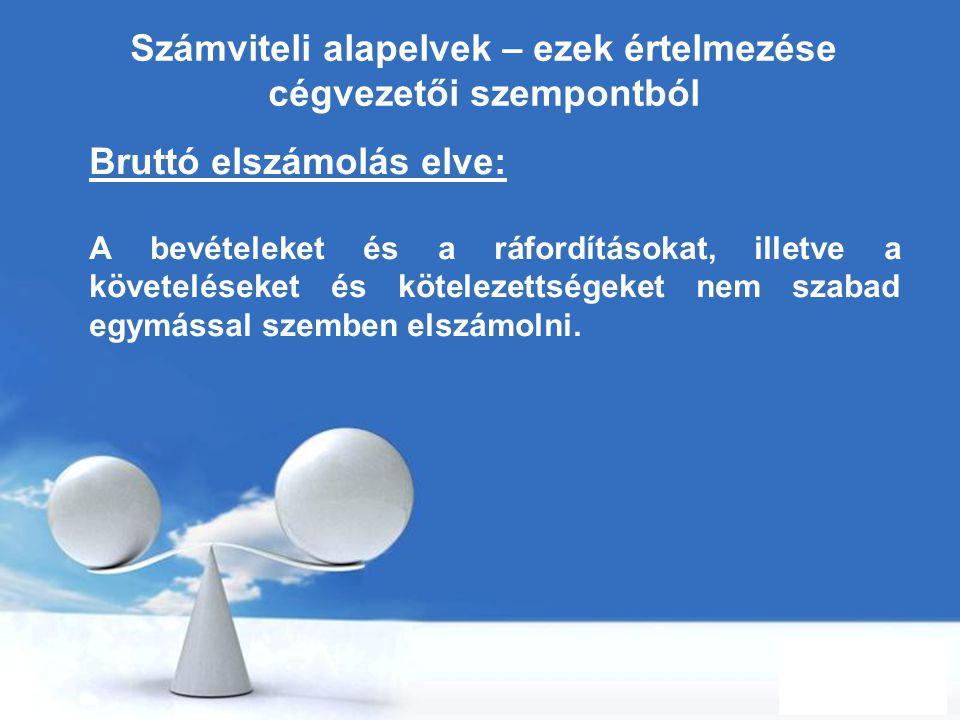 Free Powerpoint Templates Page 21 Számviteli alapelvek – ezek értelmezése cégvezetői szempontból Bruttó elszámolás elve: A bevételeket és a ráfordítás