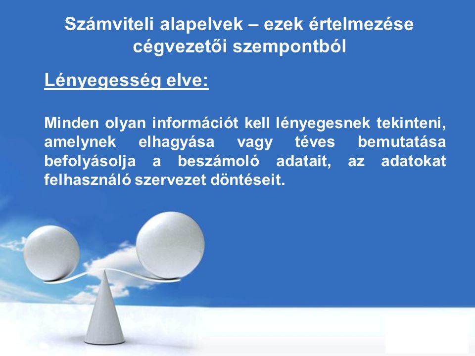 Free Powerpoint Templates Page 24 Számviteli alapelvek – ezek értelmezése cégvezetői szempontból Lényegesség elve: Minden olyan információt kell lénye