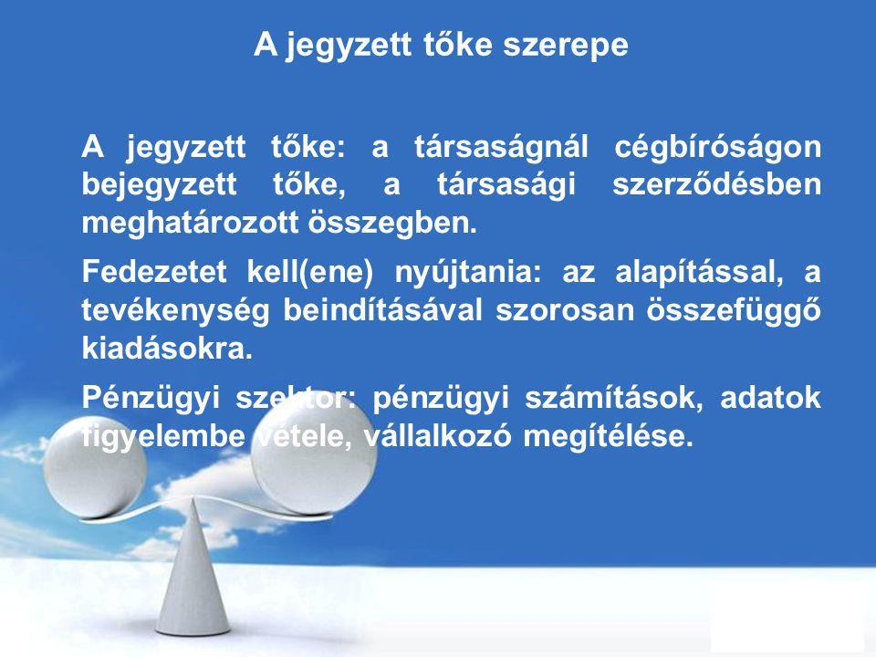 Free Powerpoint Templates Page 28 A jegyzett tőke szerepe A jegyzett tőke: a társaságnál cégbíróságon bejegyzett tőke, a társasági szerződésben meghat
