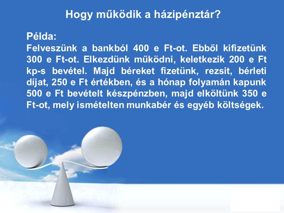 Free Powerpoint Templates Page 36 Hogy működik a házipénztár? Példa: Felveszünk a bankból 400 e Ft-ot. Ebből kifizetünk 300 e Ft-ot. Elkezdünk működni