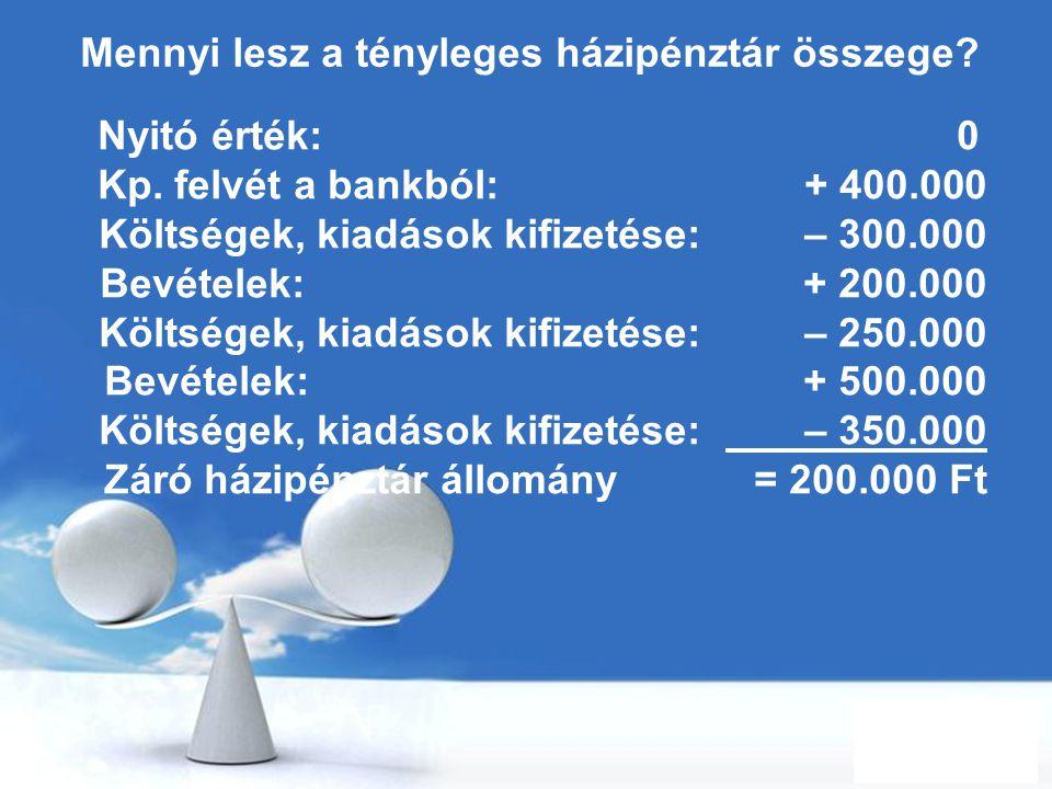 Free Powerpoint Templates Page 37 Mennyi lesz a tényleges házipénztár összege? Nyitó érték: 0 Kp. felvét a bankból: + 400.000 Költségek, kiadások kifi