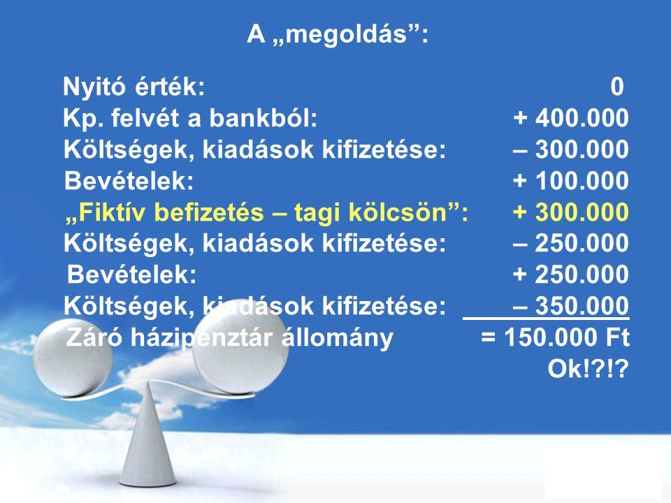 """Free Powerpoint Templates Page 39 A """"megoldás"""": Nyitó érték: 0 Kp. felvét a bankból: + 400.000 Költségek, kiadások kifizetése: – 300.000 Bevételek: +"""