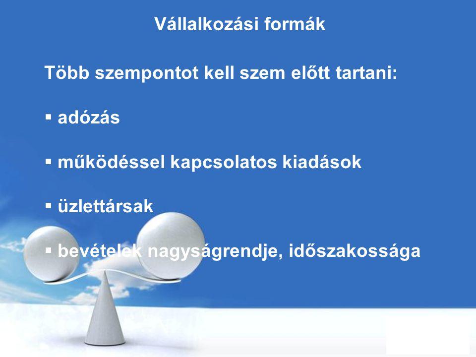 Free Powerpoint Templates Page 5 Vállalkozási formák Több szempontot kell szem előtt tartani:  adózás  működéssel kapcsolatos kiadások  üzlettársak