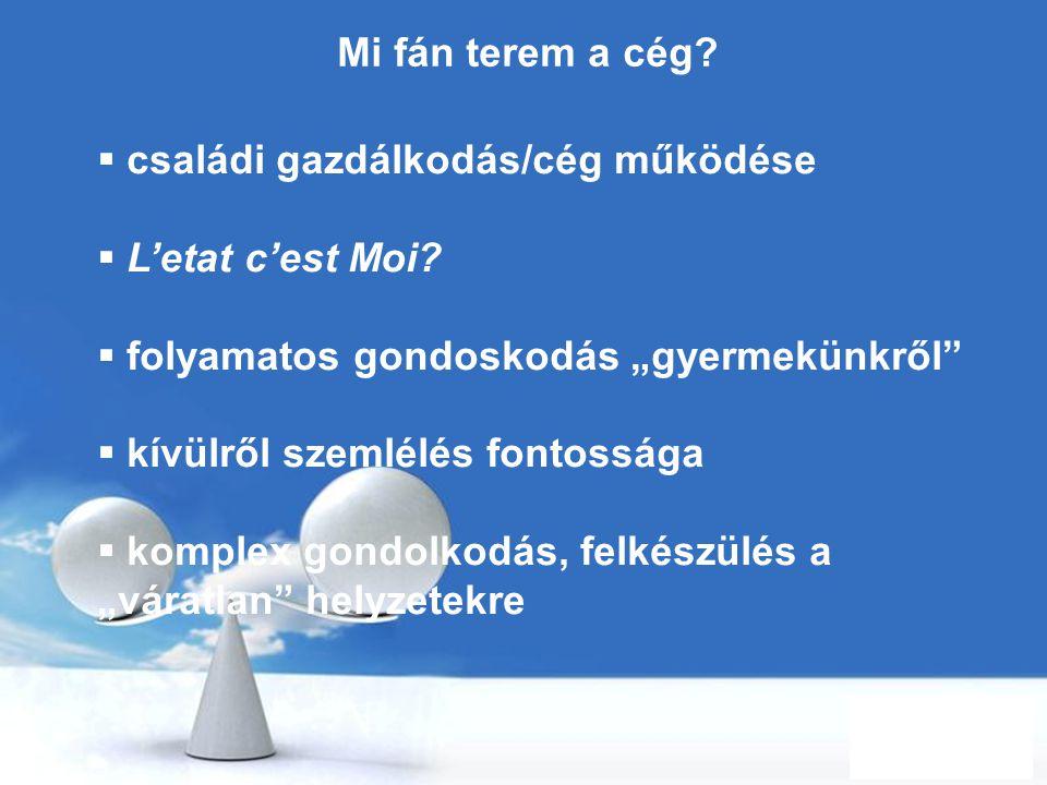 """Free Powerpoint Templates Page 6 Mi fán terem a cég?  családi gazdálkodás/cég működése  L'etat c'est Moi?  folyamatos gondoskodás """"gyermekünkről"""" """