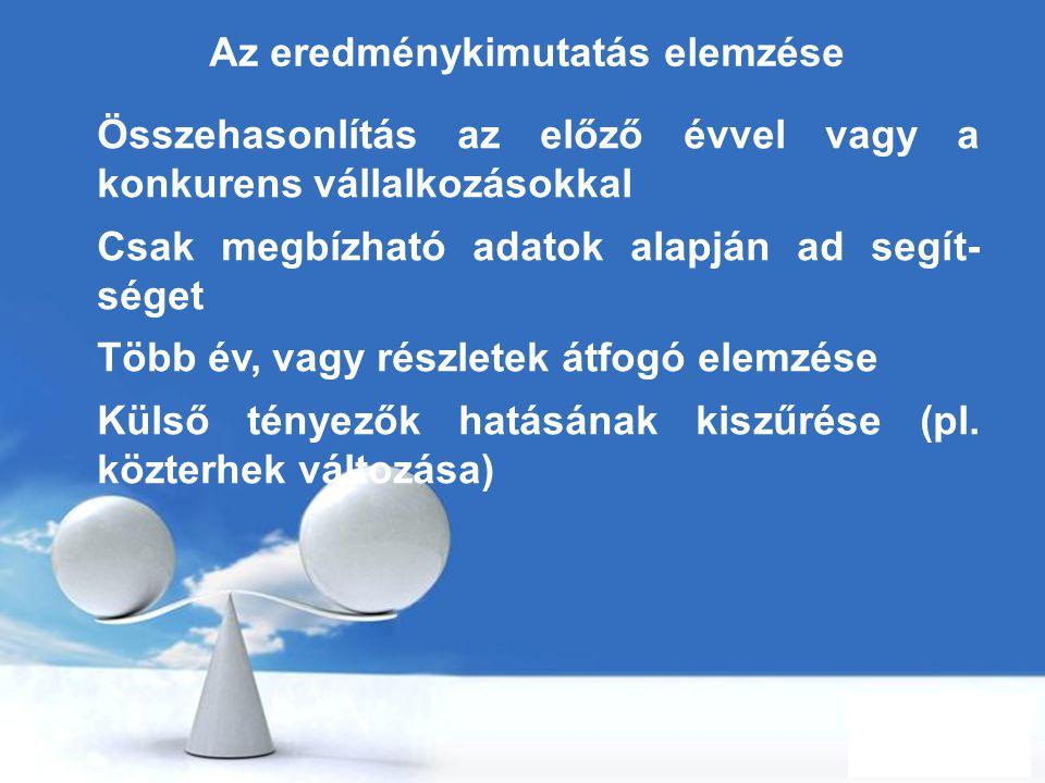 Free Powerpoint Templates Page 78 Az eredménykimutatás elemzése Összehasonlítás az előző évvel vagy a konkurens vállalkozásokkal Csak megbízható adato