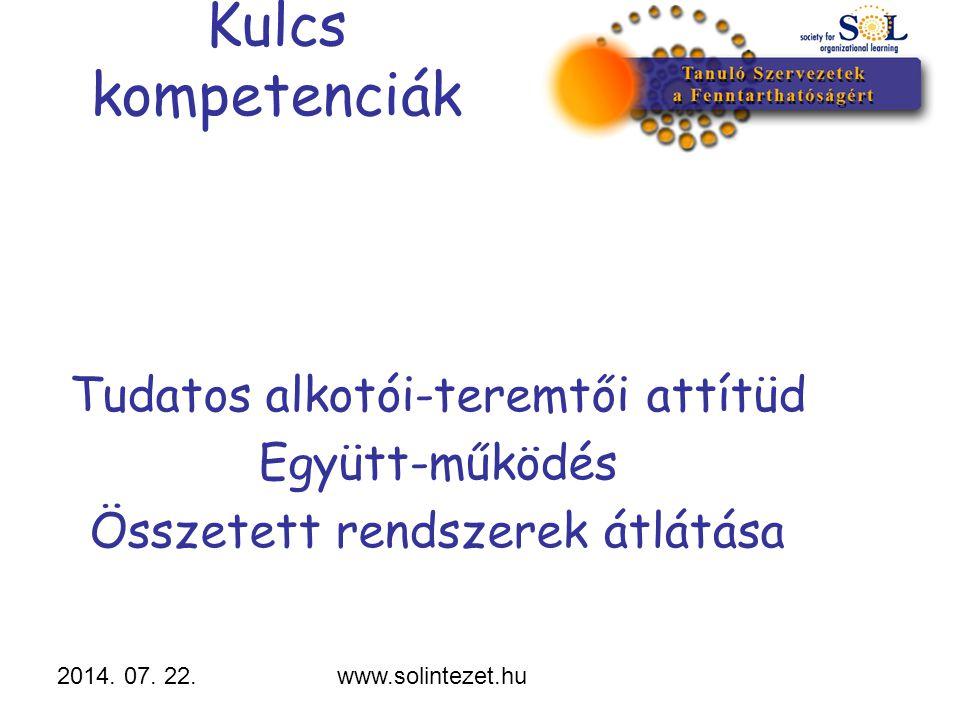 2014. 07. 22.www.solintezet.hu Tudatos alkotói-teremtői attítüd Együtt-működés Összetett rendszerek átlátása Kulcs kompetenciák