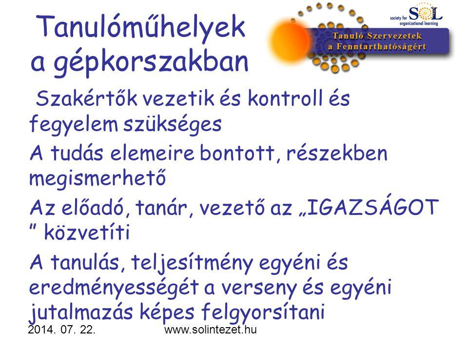 2014. 07. 22.www.solintezet.hu Tanulóműhelyek a gépkorszakban Szakértők vezetik és kontroll és fegyelem szükséges A tudás elemeire bontott, részekben