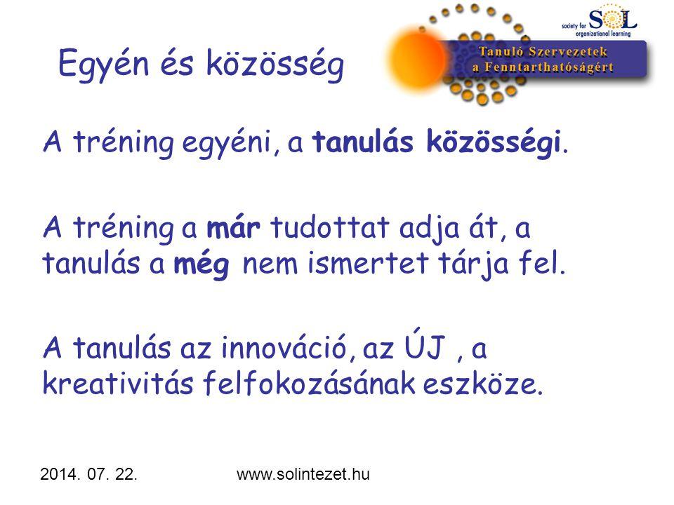2014. 07. 22.www.solintezet.hu Egyén és közösség A tréning egyéni, a tanulás közösségi. A tréning a már tudottat adja át, a tanulás a még nem ismertet