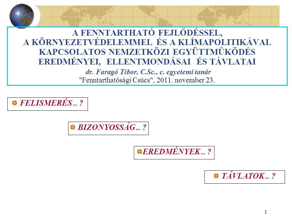 1 A FENNTARTHATÓ FEJLŐDÉSSEL, A KÖRNYEZETVÉDELEMMEL ÉS A KLÍMAPOLITIKÁVAL KAPCSOLATOS NEMZETKÖZI EGYÜTTMŰKÖDÉS EREDMÉNYEI, ELLENTMONDÁSAI ÉS TÁVLATAI dr.