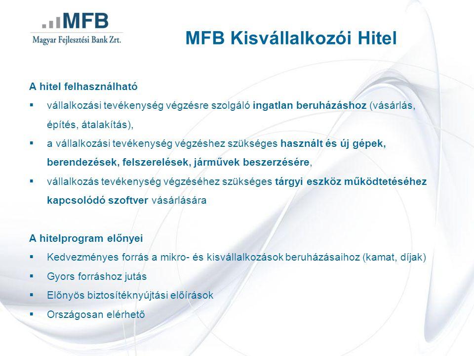 MFB Kisvállalkozói Hitel A hitel felhasználható  vállalkozási tevékenység végzésre szolgáló ingatlan beruházáshoz (vásárlás, építés, átalakítás),  a