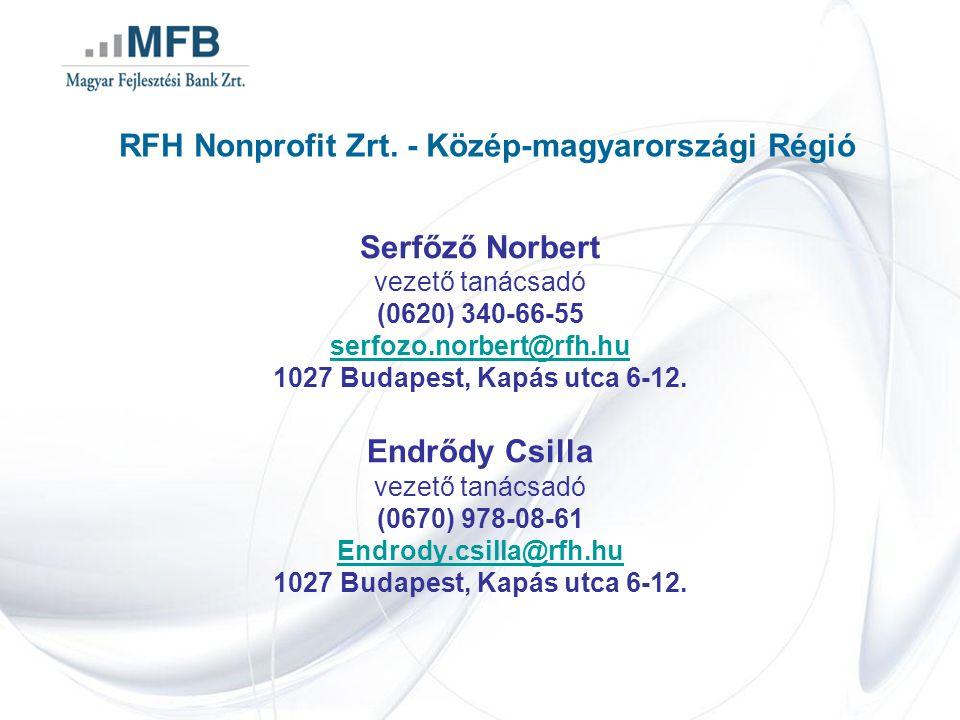RFH Nonprofit Zrt. - Közép-magyarországi Régió Serfőző Norbert vezető tanácsadó (0620) 340-66-55 serfozo.norbert@rfh.hu 1027 Budapest, Kapás utca 6-12