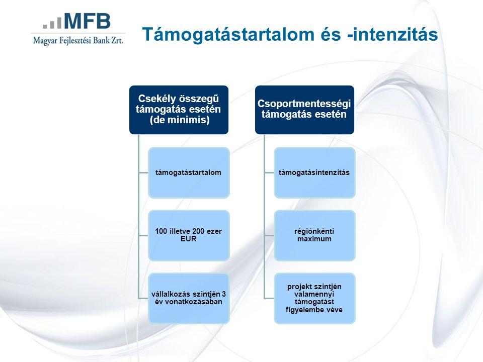 Támogatástartalom és -intenzitás Csekély összegű támogatás esetén (de minimis) támogatástartalom 100 illetve 200 ezer EUR vállalkozás szintjén 3 év vo