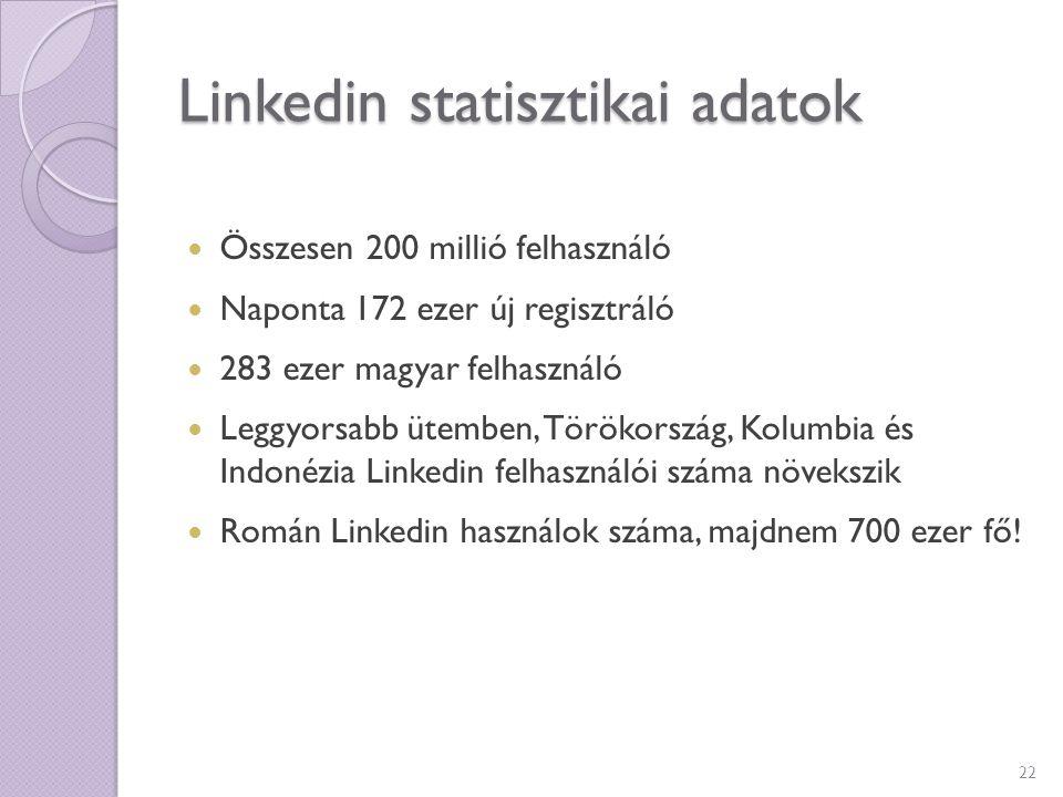 Linkedin statisztikai adatok Összesen 200 millió felhasználó Naponta 172 ezer új regisztráló 283 ezer magyar felhasználó Leggyorsabb ütemben, Törökors