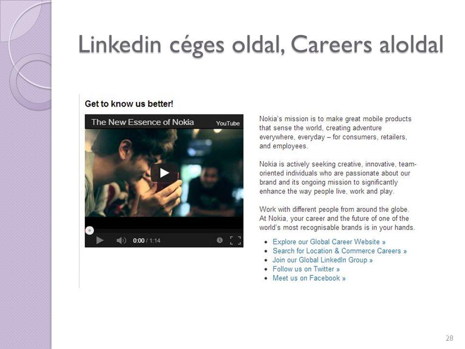 Linkedin céges oldal, Careers aloldal 28