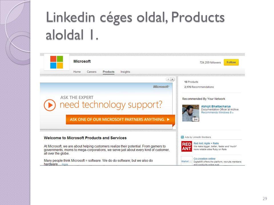 Linkedin céges oldal, Products aloldal 1. 29