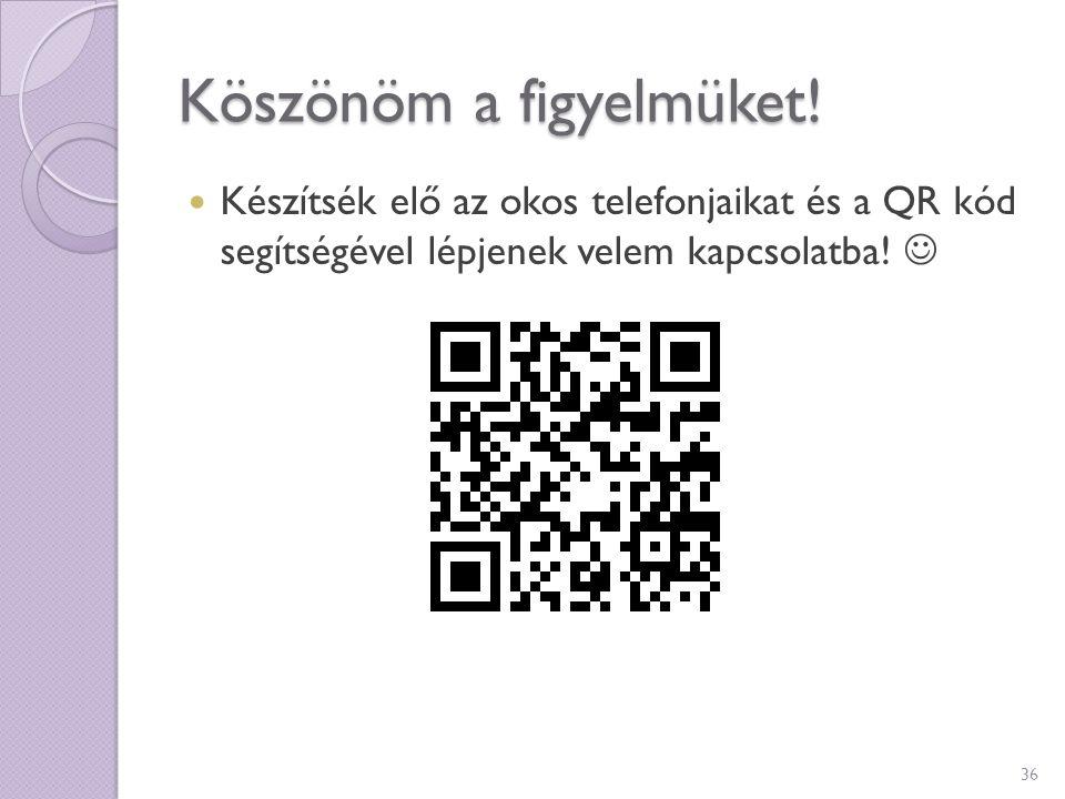 Köszönöm a figyelmüket! Készítsék elő az okos telefonjaikat és a QR kód segítségével lépjenek velem kapcsolatba! 36