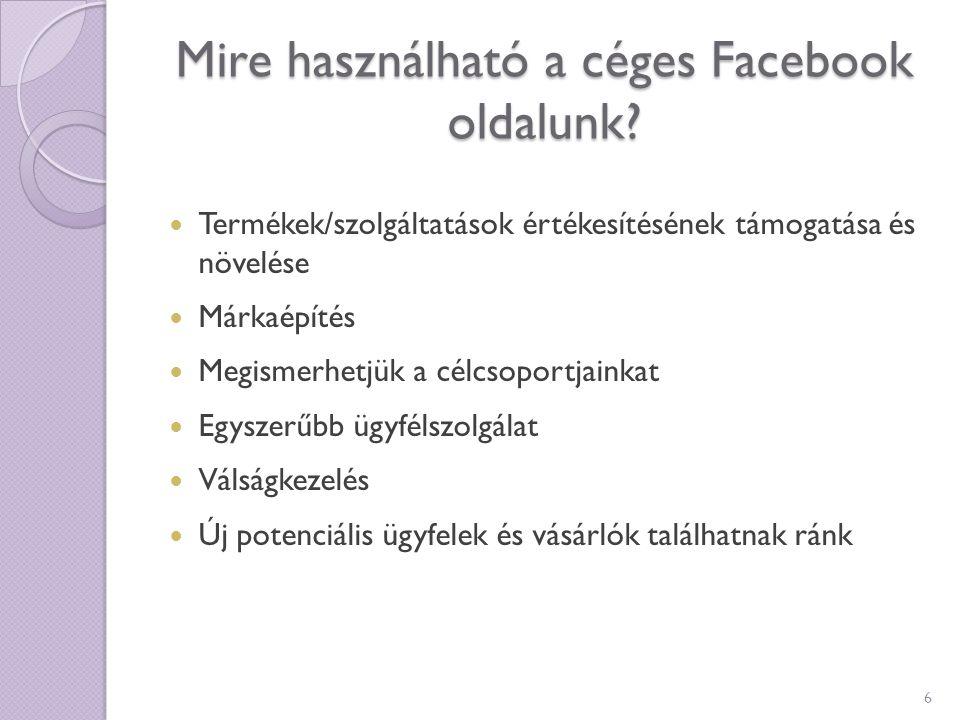 Mire használható a céges Facebook oldalunk? Termékek/szolgáltatások értékesítésének támogatása és növelése Márkaépítés Megismerhetjük a célcsoportjain