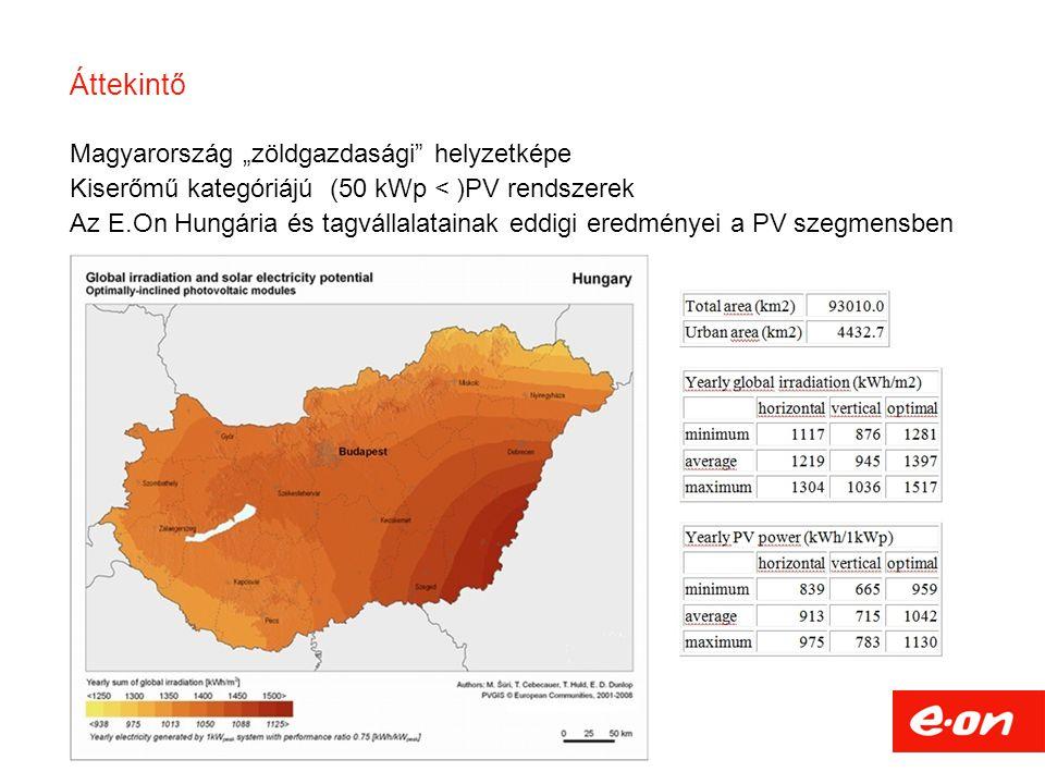 """Áttekintő 2 Magyarország """"zöldgazdasági"""" helyzetképe Kiserőmű kategóriájú (50 kWp < )PV rendszerek Az E.On Hungária és tagvállalatainak eddigi eredmén"""