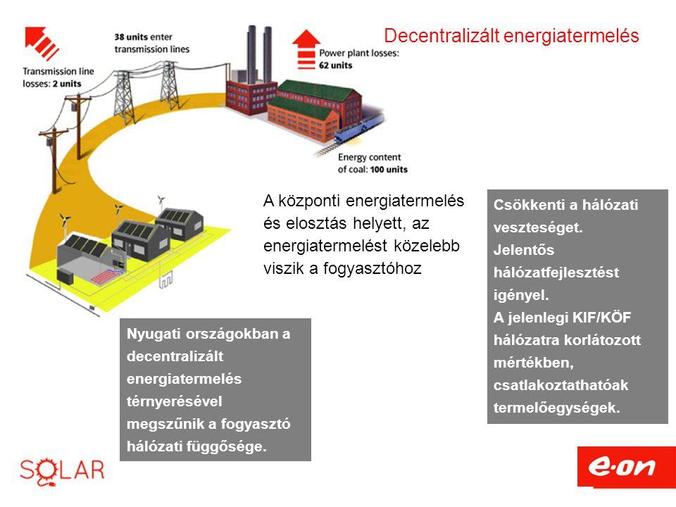 Decentralizált energiatermelés A központi energiatermelés és elosztás helyett, az energiatermelést közelebb viszik a fogyasztóhoz Csökkenti a hálózati