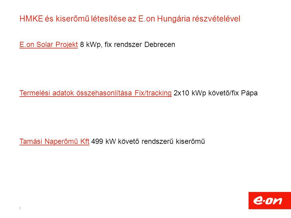 HMKE és kiserőmű létesítése az E.on Hungária részvételével E.on Solar ProjektE.on Solar Projekt 8 kWp, fix rendszer Debrecen Termelési adatok összehas