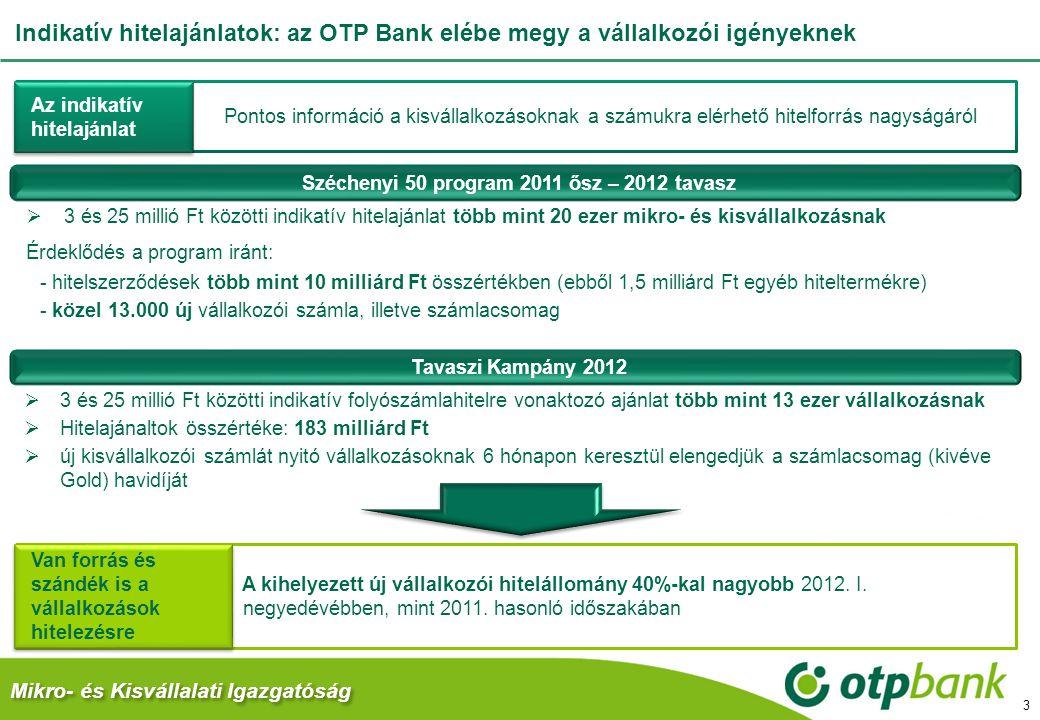Mikro- és Kisvállalati Igazgatóság Indikatív hitelajánlatok: az OTP Bank elébe megy a vállalkozói igényeknek 3  3 és 25 millió Ft közötti indikatív h