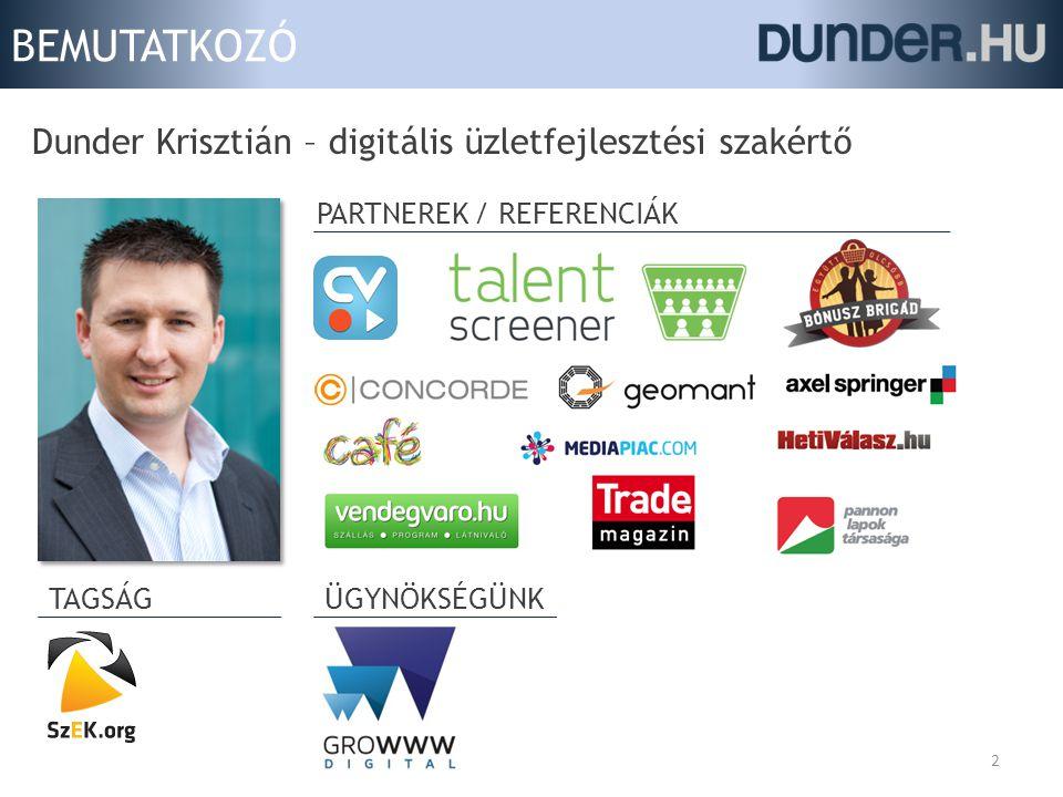 BEMUTATKOZÓ Dunder Krisztián – digitális üzletfejlesztési szakértő 2 PARTNEREK / REFERENCIÁK TAGSÁG ÜGYNÖKSÉGÜNK