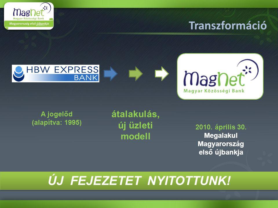 A jogelőd (alapítva: 1995) átalakulás, új üzleti modell 2010. április 30. Megalakul Magyarország első újbankja Transzformáció ÚJ FEJEZETET NYITOTTUNK!