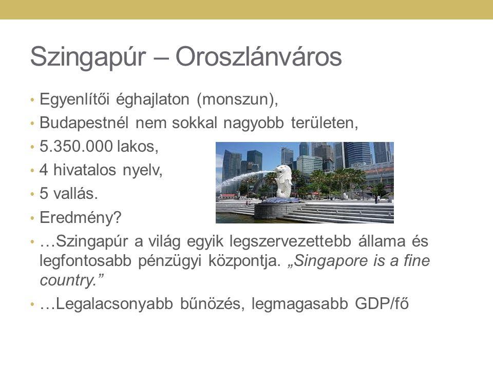 Szingapúr – Oroszlánváros Egyenlítői éghajlaton (monszun), Budapestnél nem sokkal nagyobb területen, 5.350.000 lakos, 4 hivatalos nyelv, 5 vallás.